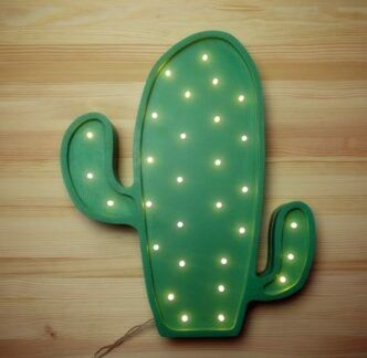 Drewniana lampka w kształcie Kaktusa - LED