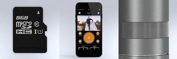 karta sd - aplikacja - czujnik ruchu w lampie z kamera
