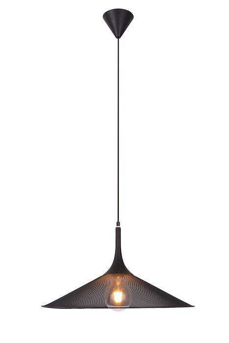 druciana czarna lampa z siatki