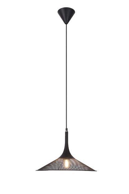 lampa wisząca z czarnej siatki