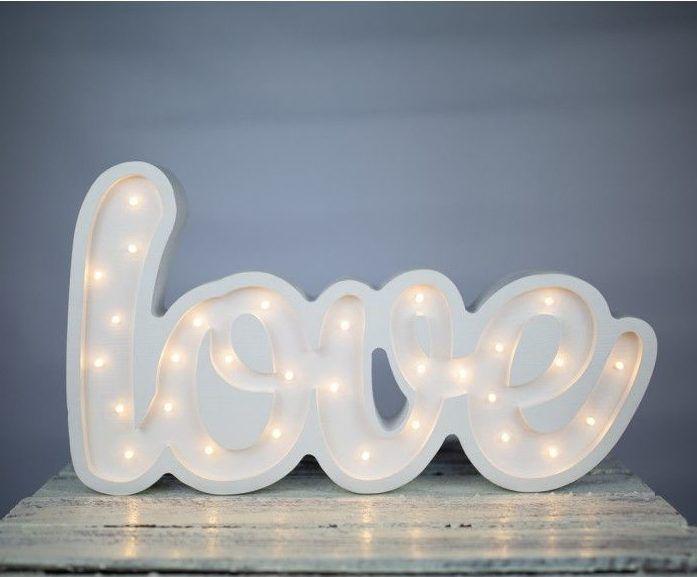 napis świecacy love biały