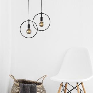 Okrągła lampa wisząca Tobik - druciana oprawa, czarna, industrialna