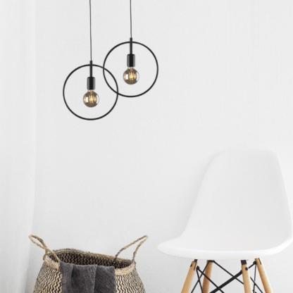 lampa wisząca - okrągła z żarówkami dekoracyjnymi