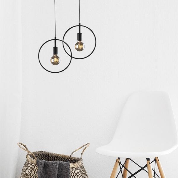 lampa wisząca koło z drutu aranżacja salon