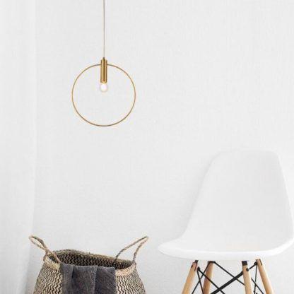 lampa wisząca - złota nowoczesna do pokoju