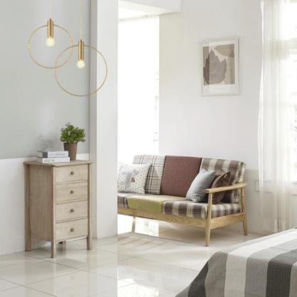lampy wiszące do sypialni - złote okręgi