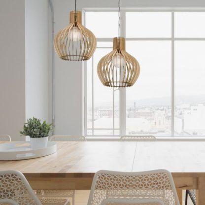 lampy wiszące nad stół do kuchni - drewniane