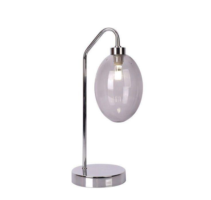 Lampa szklana stołowa Lukka na srebrnej nóżce