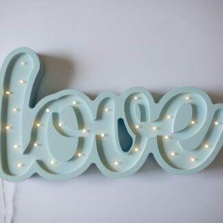 Lampa z napisem LOVE niebieska - LED