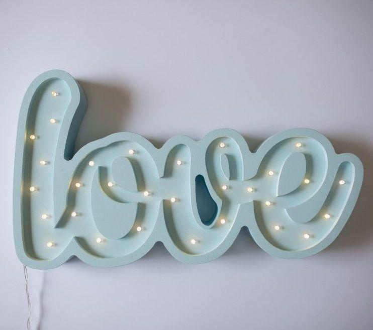 lampka napis love niebieska
