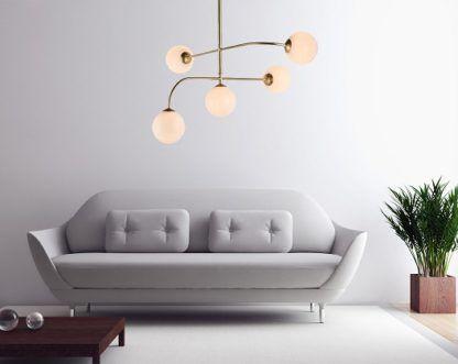 nowoczesny żyrandol do salonu - złoty