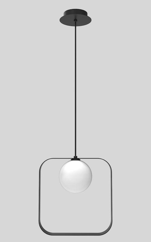 lampa z czarnym elementem dekoracyjnym