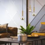 złote lampy wiszące do salonu - 3 żarówki