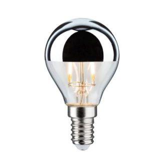 Srebrna żarówka Crown Mirror - E14, ciepłe światło