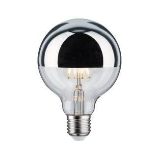 Srebrna żarówka Crown Mirror - LED, ciepłe światło