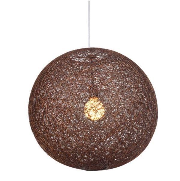 Okrągła lampa wisząca Caruba - brązowa, ratan