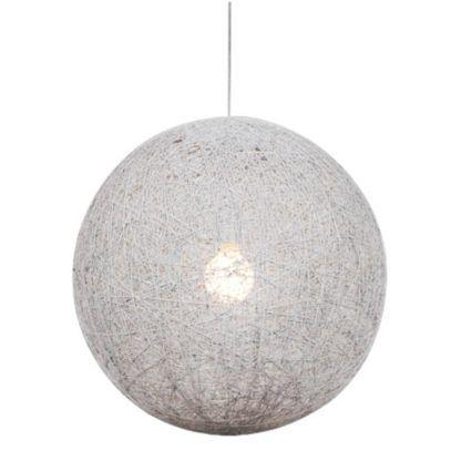 biała lampa wisząca kula rattan
