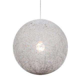 Lampa wisząca Caruba - biały klosz, ratan