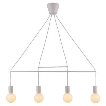 biała geometryczna lampa wisząca bez kloszy