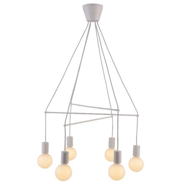 biała lampa wisząca nowoczesna do jadalni