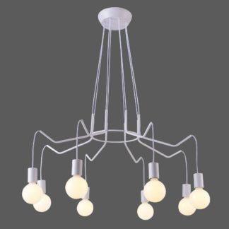 Duża lampa wisząca Basso - biała, 8 żarówek