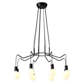 Duża lampa wisząca Brasso - czarna, na 8 żarówek