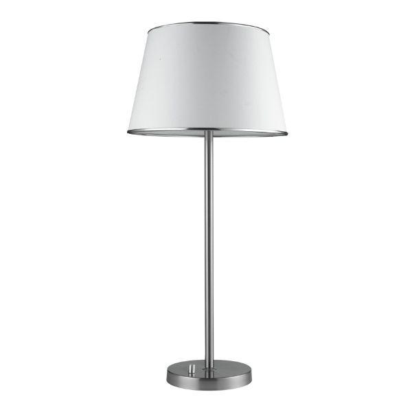 srebrna lampa stołowa z białym abażurem