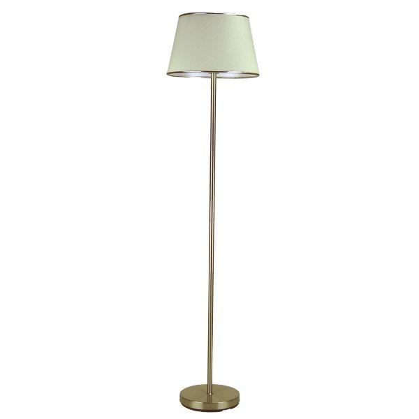 elegancka złota lampa podłogowa z abażurem