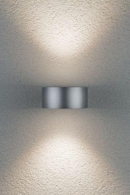 srebrny nowoczesny kinkiet elewacyjny