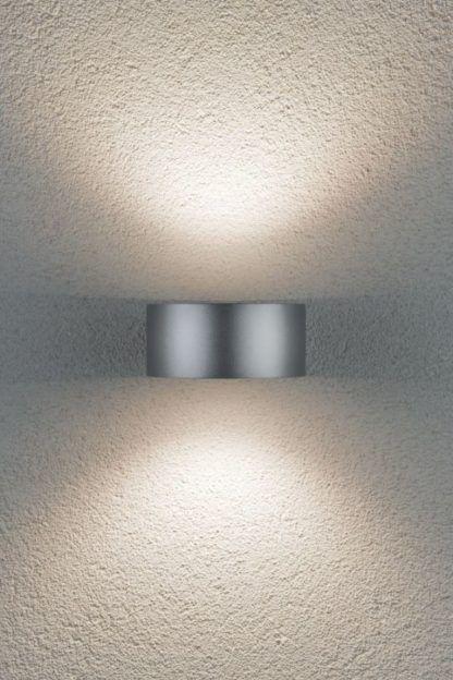 srebrny nowoczesny kinkiet zewnętrzny