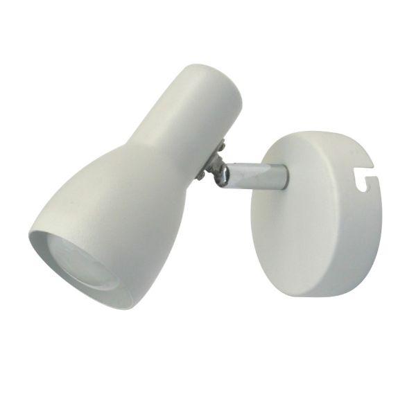 biały kinkiet z regulowanym kloszem metalowy