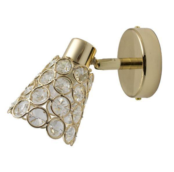 złoty kinkiet glamour z kryształkami