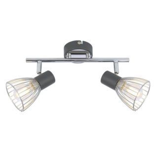 Podwójna lampa sufitowa Modo - chrom, szarość