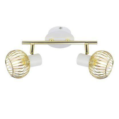 biała lampa sufitowa ze złotymi reflektorami