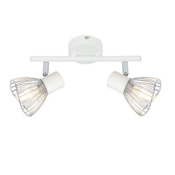 biała lampa sufitowa z drucianymi kloszami