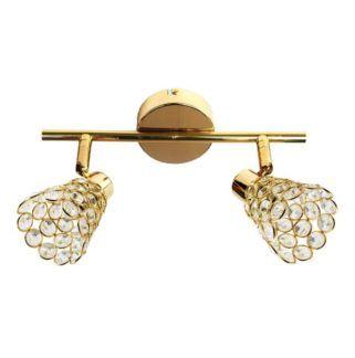 Złota lampa sufitowa Glossy - kryształowe klosze