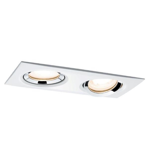 prostokątne oczko sufitowe biało-srebrne
