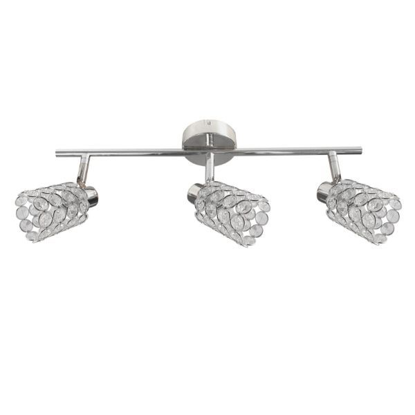 Srebrna lampa sufitowa York - podłużna, 3 klosze