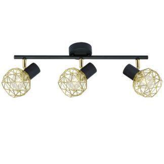 Czarna lampa sufitowa Acrobat - złote klosze