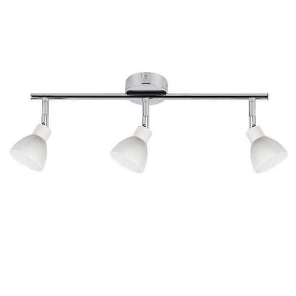 srebrna lampa sufitowa z białymi kloszami do kuchni