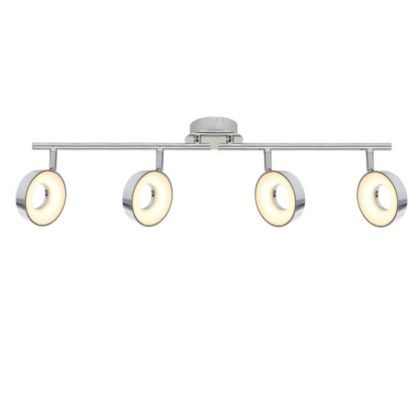 podłużna, srebrna lampa sufitowa do salonu