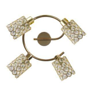 Złota lampa sufitowa York - okrągła, kryształki