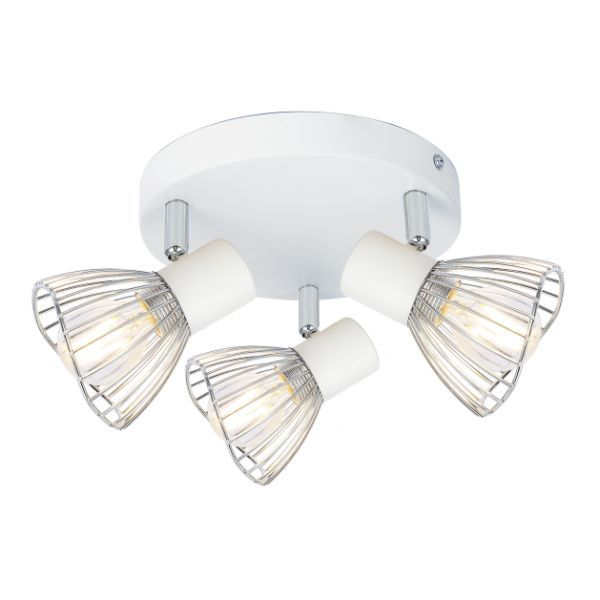 biało-srebrna lampa sufitowa druciana