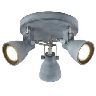 Szara lampa sufitowa Ash - okrągła, 3 reflektory