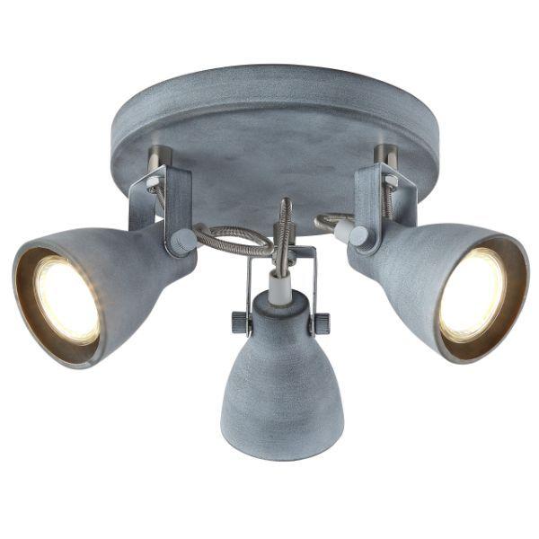 industrialna lampa sufitowa z szarymi reflektorami