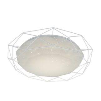 Biały plafon Sven - druciana oprawa, LED