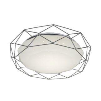 Efektowny plafon Sven - biały klosz w szarej ramie, LED