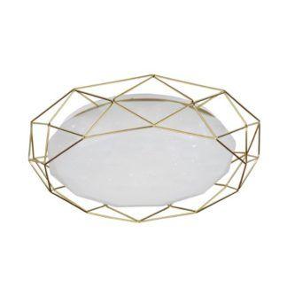 Geometryczny plafon Sven - biały w złotej ramie, LED