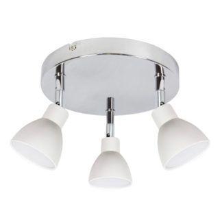 Srebrna lampa sufitowa Roy - okragła podstawa, białe klosze
