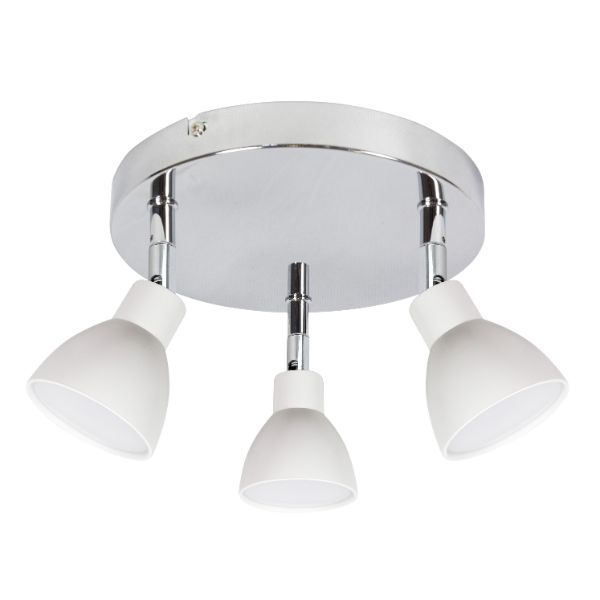 srebrna lampa sufitowa białe klosze do kuchni